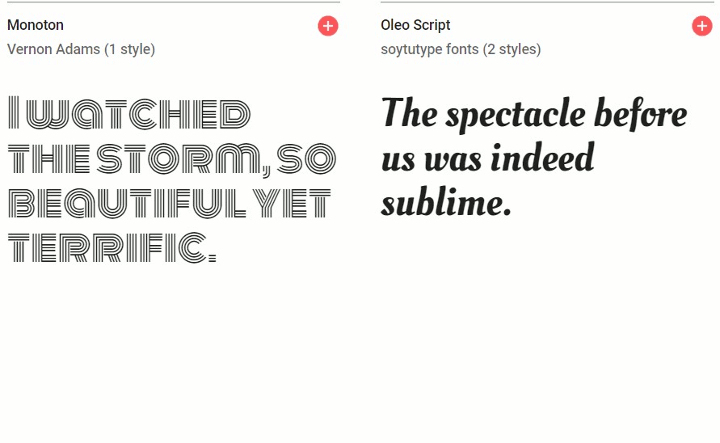 Google Fonts Display