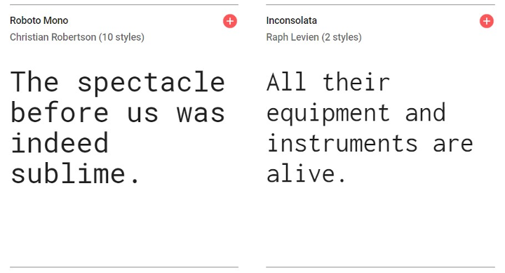 Google fonts. monospace